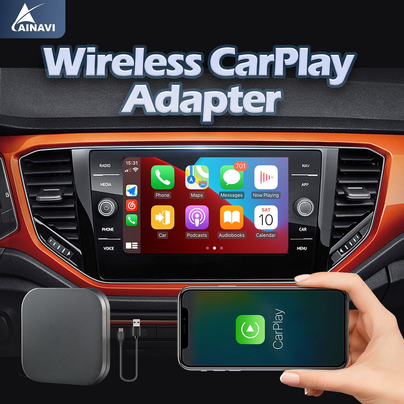 Promo Wireless apple iPhone CarPlay Dongle Adapter USB for Factory Wired CarPlay Cars (Model Year: 2015 to 2020) Wireless  CarPlay