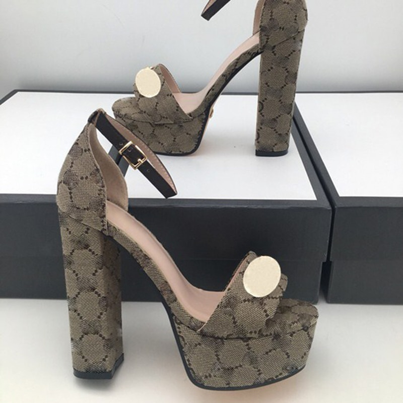 Fashion sandals summer women Shoe Buckle Strap heeled Platform Slides chunky Heel Rubber sole Black womens Shoes High quality enlarge