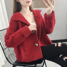 Winter Women Coat 2021 New Autumn Sweaters Outerwear Retro Turtleneck Twisted Short Thickened Knitti