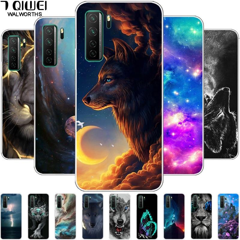 Para huawei honor 30 s caso 6.5 silicone silicone macio lobo leão telefone capa para huawei honra 30 s rússia caso tpu fundas honor30s 30 s