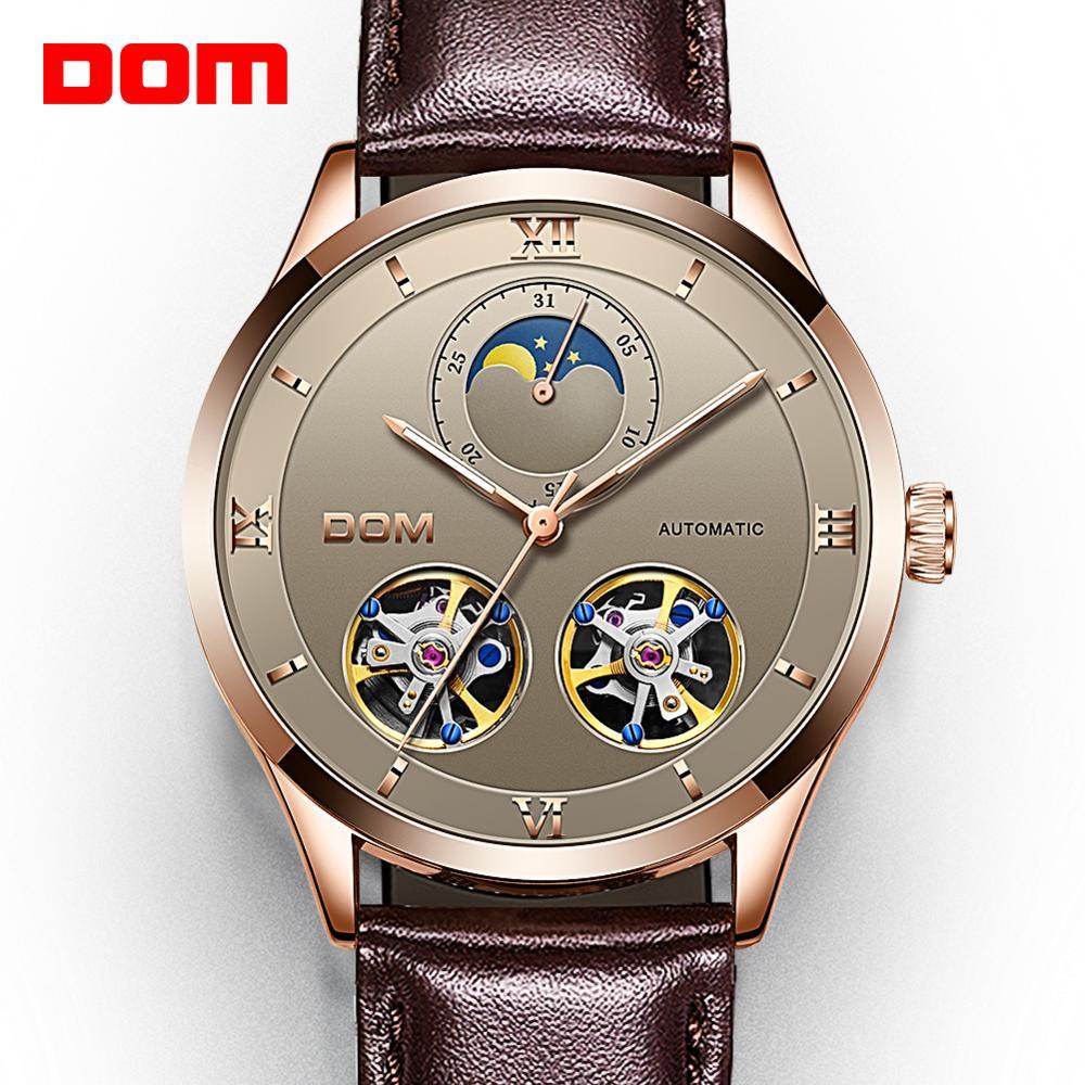 Relógios de Couro Genuíno à Prova Relógios Mecânicos Homens Esqueleto Relógio Automático Mecânico Dself Água Auto-liquidação M-1270 Dom
