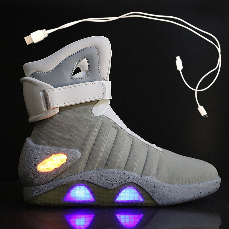 Spring Adult Basketball Shoes USB Charging LED Luminous Shoes Men Fashion Light Up Casual Men Back To The Future Glowing Sneaker enlarge