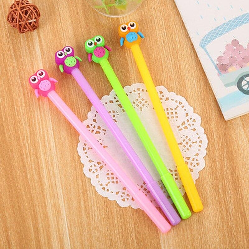 1 piezas búho pluma de Gel de 0,5mm de Color jalea Linda bolígrafos novedad papelería pluma Kawaii estudiante lindo firma plumas Kawaii la escuela suministros