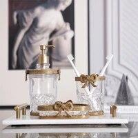 modern toiletries set luxury bow glass brass bathroom supplies three piece hotel designer wash ornaments bathroom sink