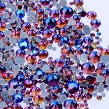 Toutes les tailles bleu volcan DMC fer sur Strass/dos plat Nail art Hot fix cristal Strass couture et tissu vêtement