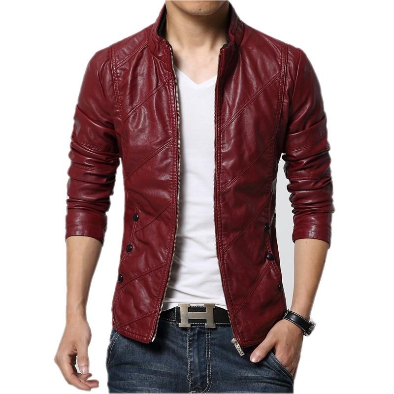 Brand 2020 New Mens Fashion Leather Jacket Men's Collar Slim Biker Jacket High Quality Men's Coat Solid Color Jacket Size 5XL-M