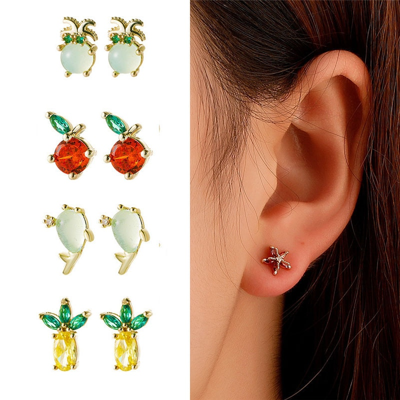 Mini Cute Zircon Banana Fish Lobster Earrings For Women Girls High Grade Fruit Animal Copper Stud Ea