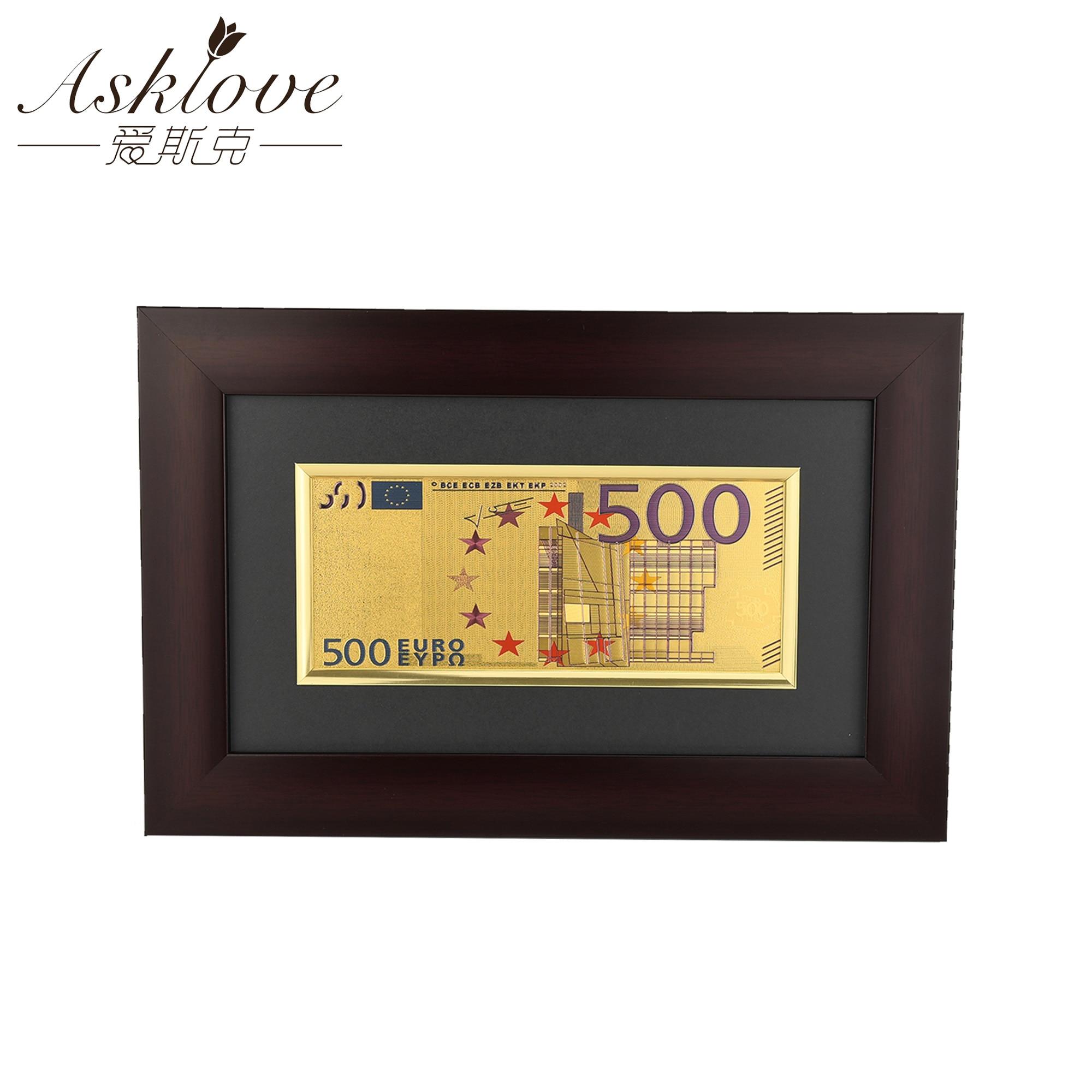 Евро золотые банкноты в рамке картины поддельные деньги для коллекции сувенир 500 евро банкноты подарки настенные художественные фотографии украшения дома