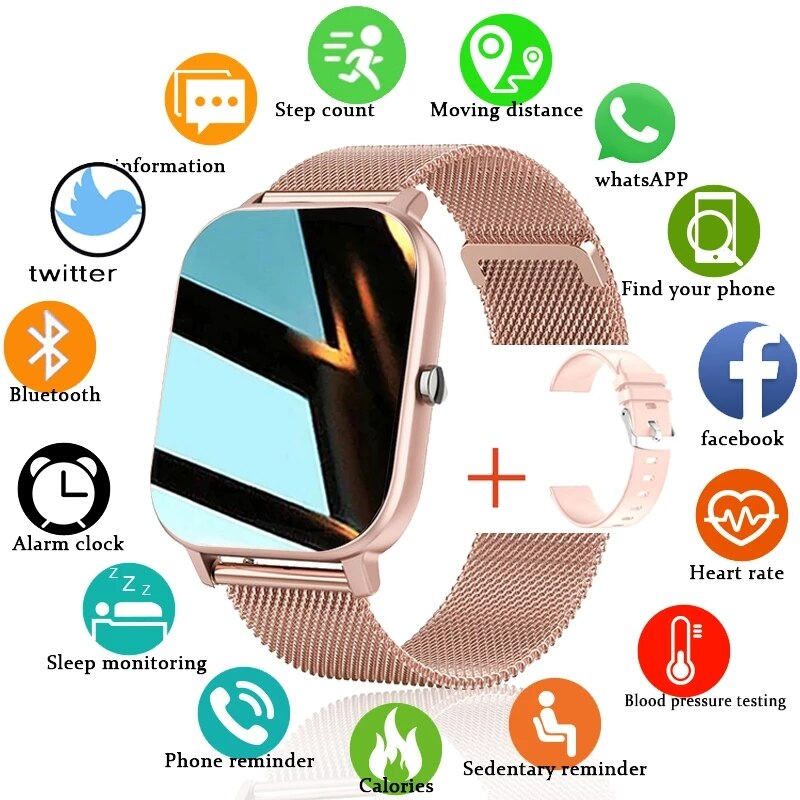 LIGE P8 Color Screen Smart Watch Women Men Full Touch Fitness Tracker Blood Pressure Smart Clock Sma