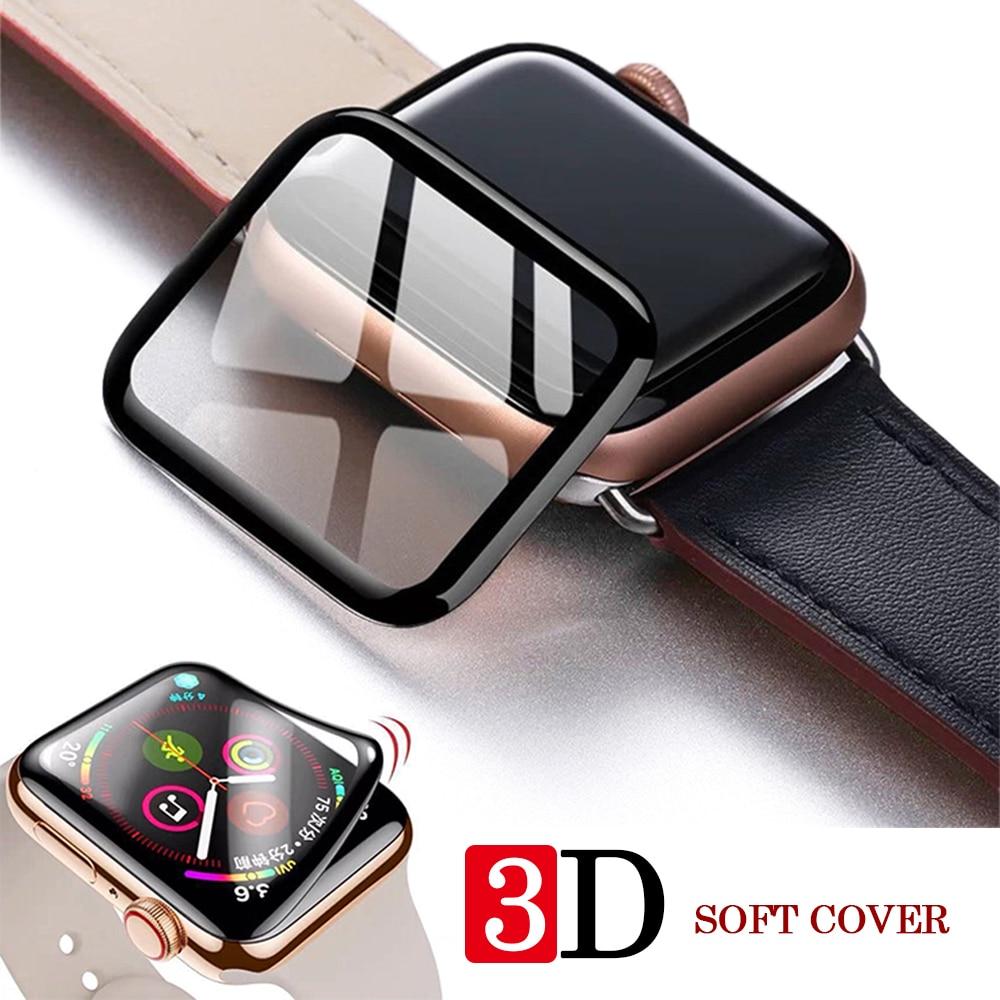 Protecteur d'écran pour Apple Watch, couverture complète en verre trempé 3d pour iwatch série 5 4 3 2 1, iwatch 38 42mm 40 44mm
