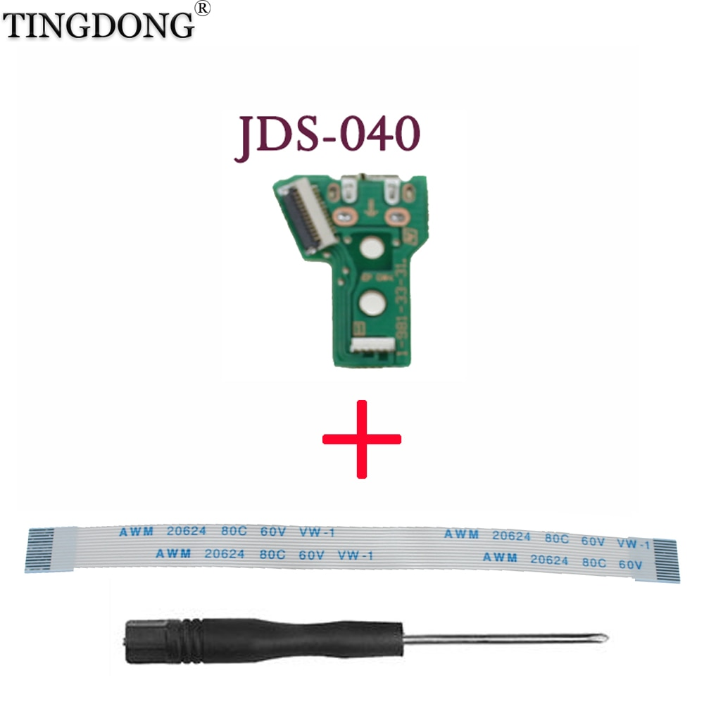 jds 001 jds 011 jds 030 jds 040 usb charging port socket board charger board with flex ribbon cable for ps4 pro controller board For PS4 Controller Micro-USB Charging Socket Circuit Board JDS-040 JDM 040 JDS 040 040 12-Pin Cable Port