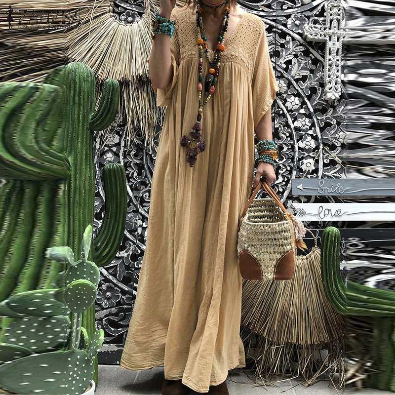Bohemian Women Lace Crochet Maxi Long Dress ZANZEA Summer V neck Flare Sleeve Solid Sundress Kaftan Party Beach Vestido Baggy