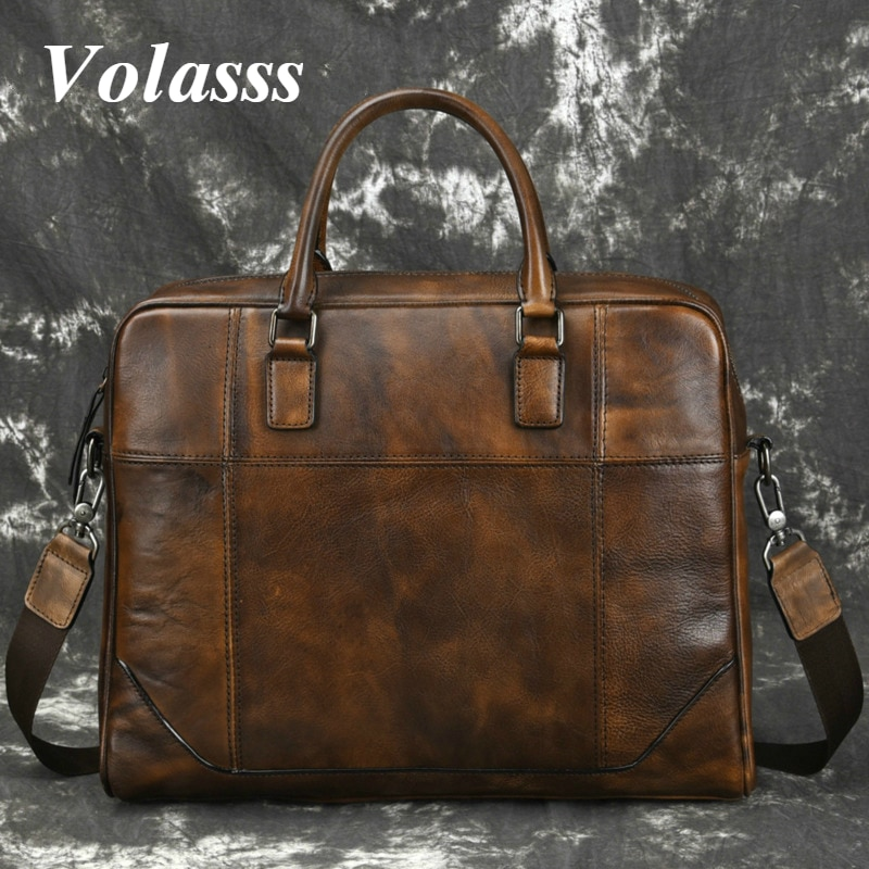 Volasss Handbags Briefcases For Men Large Capacity Genuine Leather Business Bags Man Briefcase Cowhide 14.1