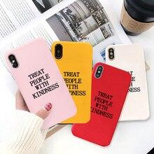 Gykz harry estilos tratar as pessoas com bondade caso de telefone para iphone xs max 11 pro x xr 7 8 6 plus doces cor silicone macio capa