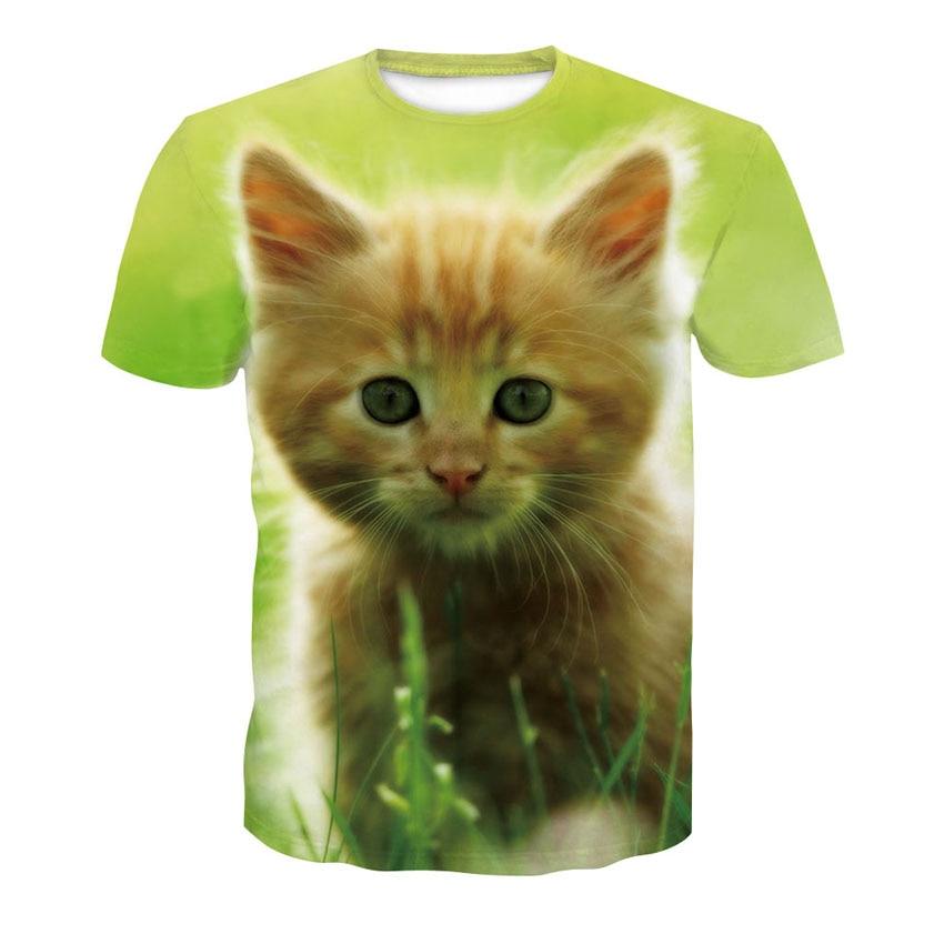Summer 2020 new women's short sleeve T-shirt kawaii animal 3D cat print round collar casual men's and women's street wear t-shir