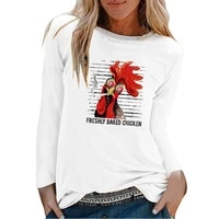 freshly baked chicken print long sleeve t shirts women autumn winter graphic tee aesthetic t shirt women funny white o neck tops