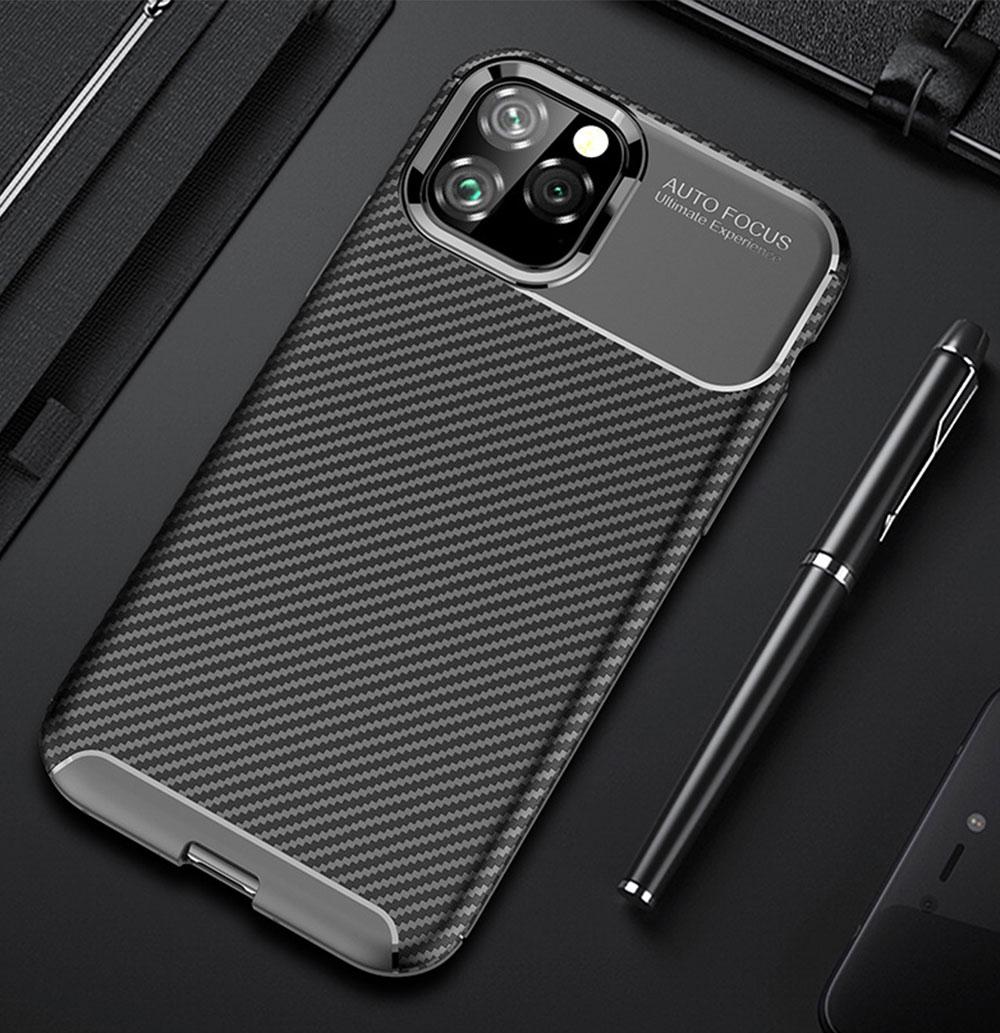 Para o iphone 11 pro max caso luxo capa de fibra carbono 360 proteção completa caso do telefone para o iphone xi 11 pro capa à prova choque amortecedor