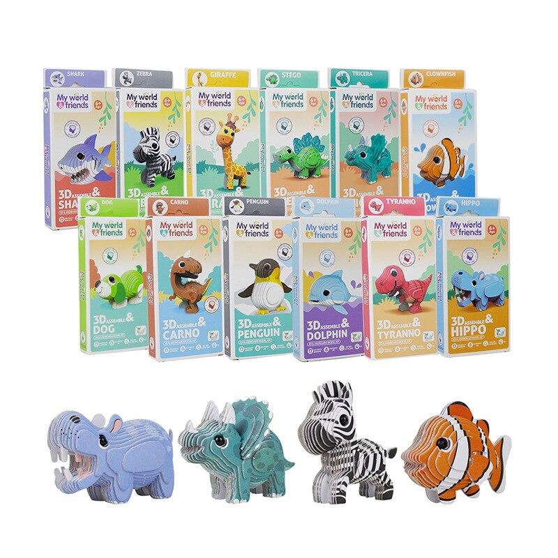 Головоломки для детей, животные, искусственные, Детские трехмерные головоломки, Мультяшные бумажные креативные головоломки