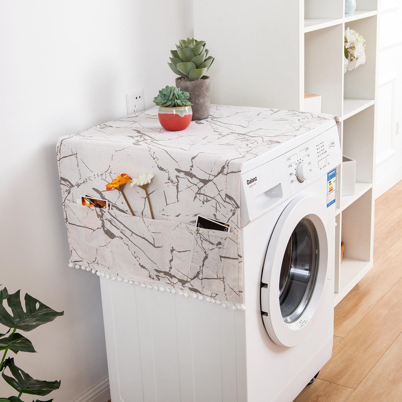 Linen Gray Geometric Refrigerator Cover Single Door Dust Cover Garden Double Open Drum Washing Machine Towel Cloth Household enlarge