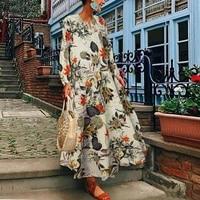 zanzea women long sleeve loose dress autumn vintage floral printed long vestido kaftan femme robe oversize cotton linen sundress
