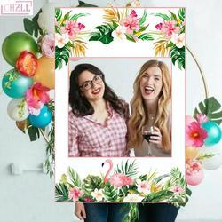 Chzll moldura de flamingo rosa para fotos, bota de fotos de 68*48cm para festa de aniversário e festa de despedida de solteiros adereços