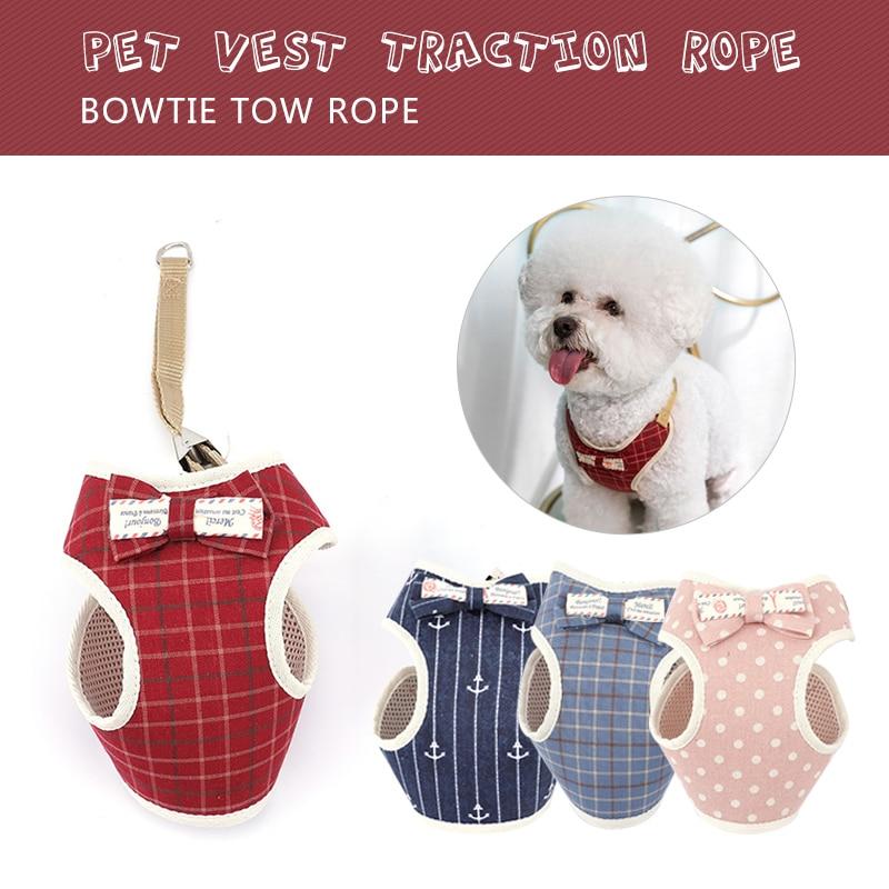 Conjunto de arnés y correa Bowtie Dog suave transpirable Bowknot mascota chaleco cuerda de tracción para perro pequeño mediano malla acolchada correa de pecho de Mascota