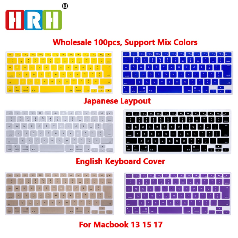 HRH 100pcs Durable Sim Silicone English Keyboard Cover Skin Protector for Macbook Air Pro Retina 13