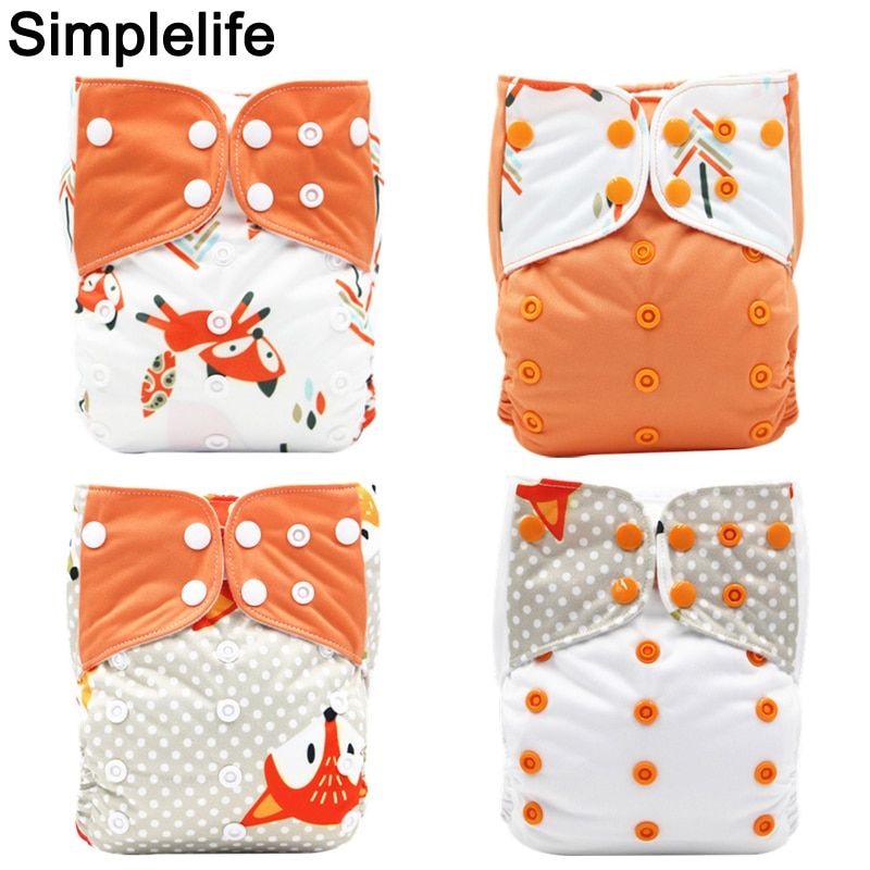 4pcs Washable Reusable Diaper Cover Digital Print Waterproof PUL Nappies Pants One Size Infant Baby Cloth Nappy Fits 3-15kg