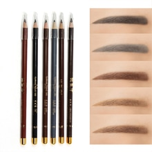 1Pc Microblading Eyebrow Pen Waterproof Permanent Make-up Eye Brow Pencil Positioning Lip Dark Brown