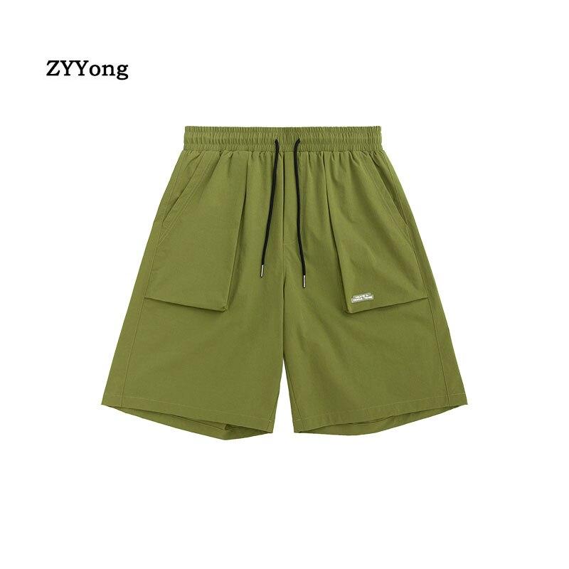Летние мужские шорты, комбинезоны, одноцветные, с эластичной резинкой на талии, модные, уличные, в стиле хип-хоп, пляжные Тонкие штаны