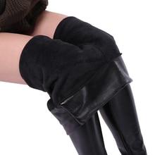 SALSPOR 5XL Plus Size Women Winter Velet Trousers Femme Black Warm Leather Nine pants Ladies Sexy High Waist Slim PU Leggins
