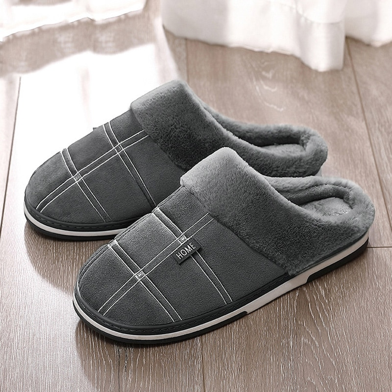 Men's slippers Winter Keep warm Gingham Suede Short plush Indoor shoes for male Non slip Memory Foam Soft Home Fur slippers men home warm slippers for men women winter furry short plush man slippers non slip bedroom slippers couple soft indoor shoes male