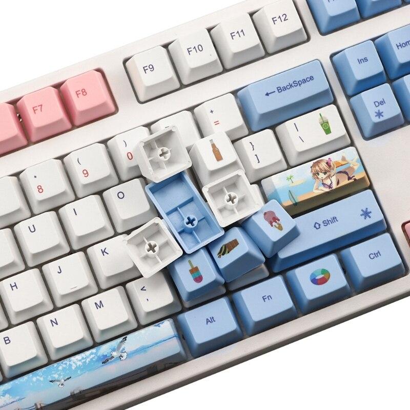 P9YA 118 مفاتيح PBT أغطية المفاتيح OEM الشخصي صبغ الفرعية Keycap ل الكرز MX التبديل لوحة المفاتيح الميكانيكية الملونة الصيف