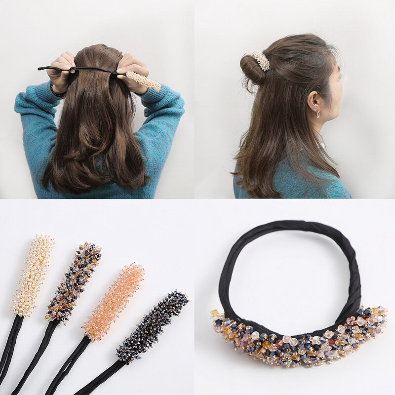 Pearls Crystal Braiders Tool Women Classic Magic Hair Twist Hair Styling Tools Quick Bun Donut Curle