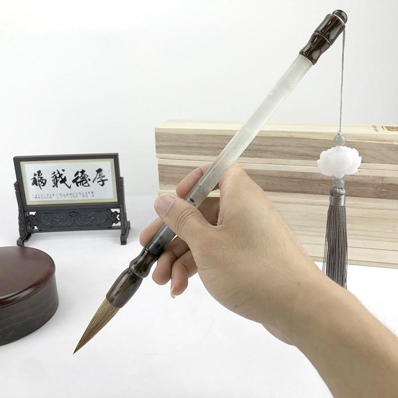 Ручка для традиционной китайской каллиграфии с большим нефритом, кисточка для рисования, Большой Классический сценарий, кисточка для письм...