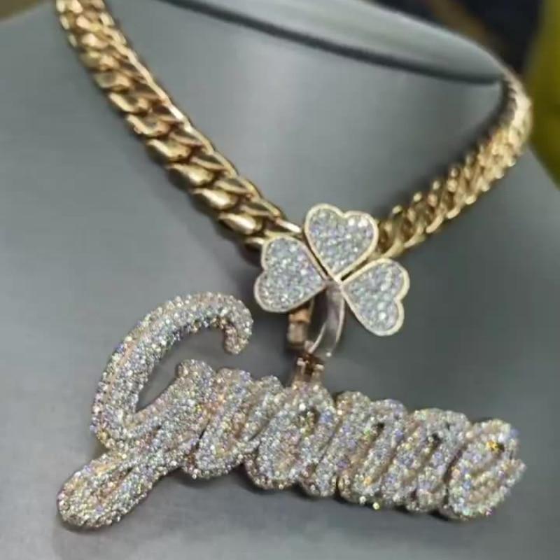 OTIY Custom Bust Down Iced Out GRA Certificate VVS Moissanite Diamond Name Necklaces