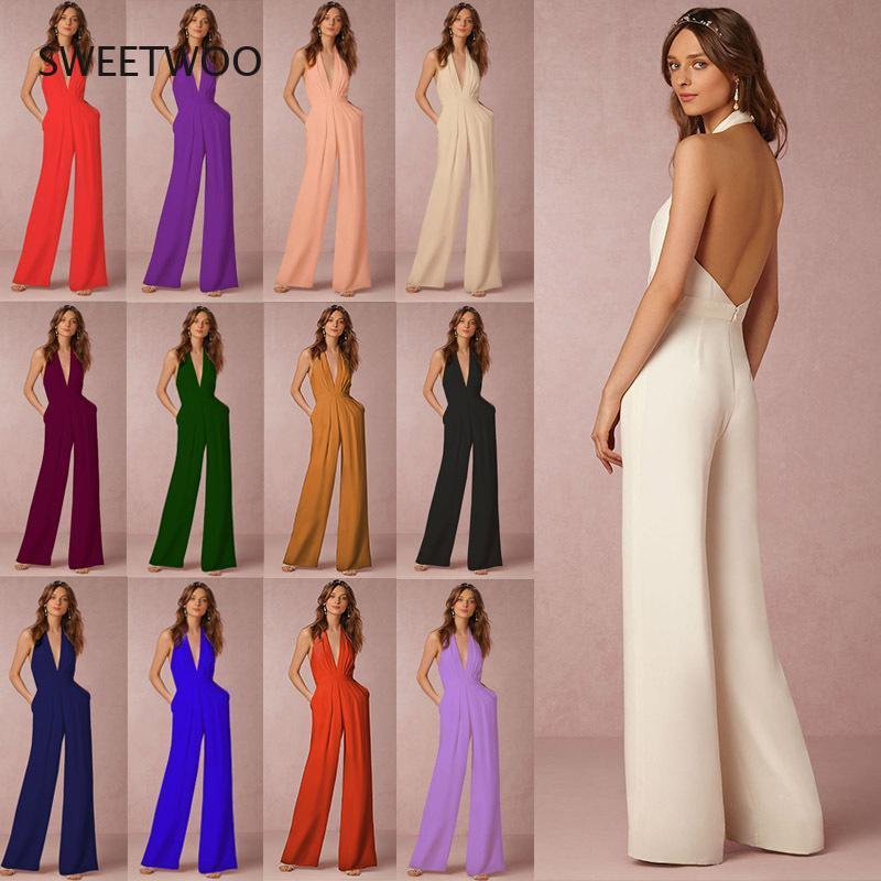 Fashion Casual Wedding Long Pants Sexy Sleeveless Halter Elegant Wide Leg Ladies Deep V Women