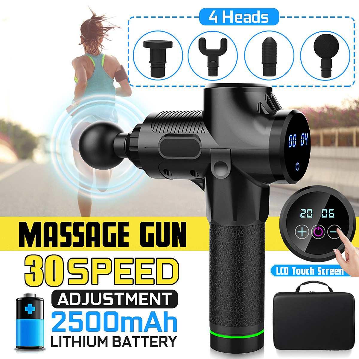 Nouveau 30 fichiers masseur musculaire thérapie électrique corps LED Massage musculaire pistolets corps relaxant soulagement Massage Machine 4 tête 4000r/min