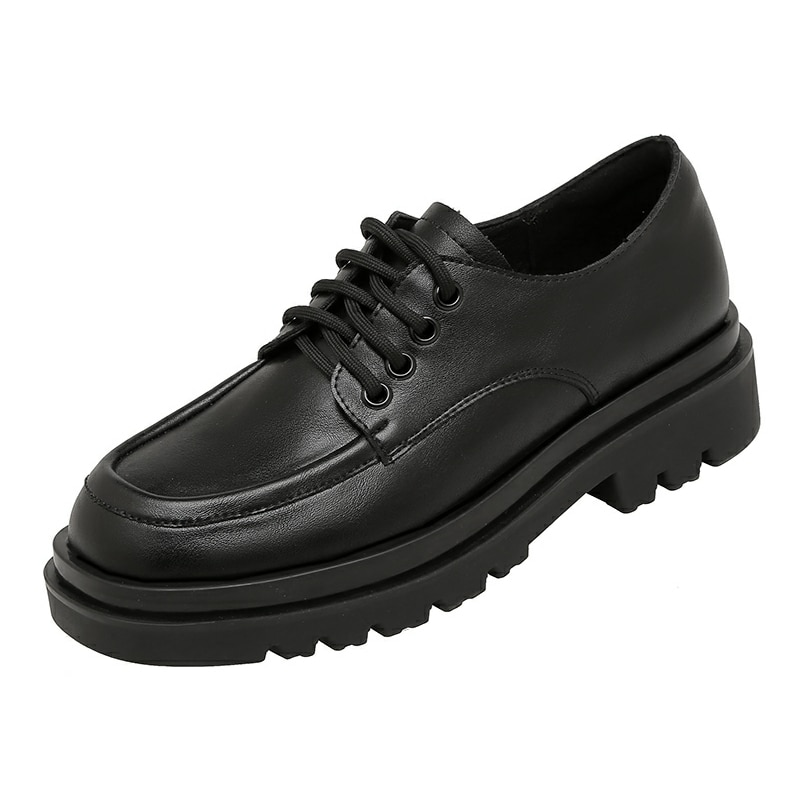SUMAITONG Casual Oxford Shoes Spring Mature Lace-Up Square Toe Solid Black Women Flats Shallow Concise Stlye Chaussure Femme