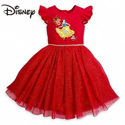 Disney Snowyprincess Girls' Dress Red Dancing Dress Girls' Dress Gift Cartoon Ball Gown Knee-Length skirt women skirt