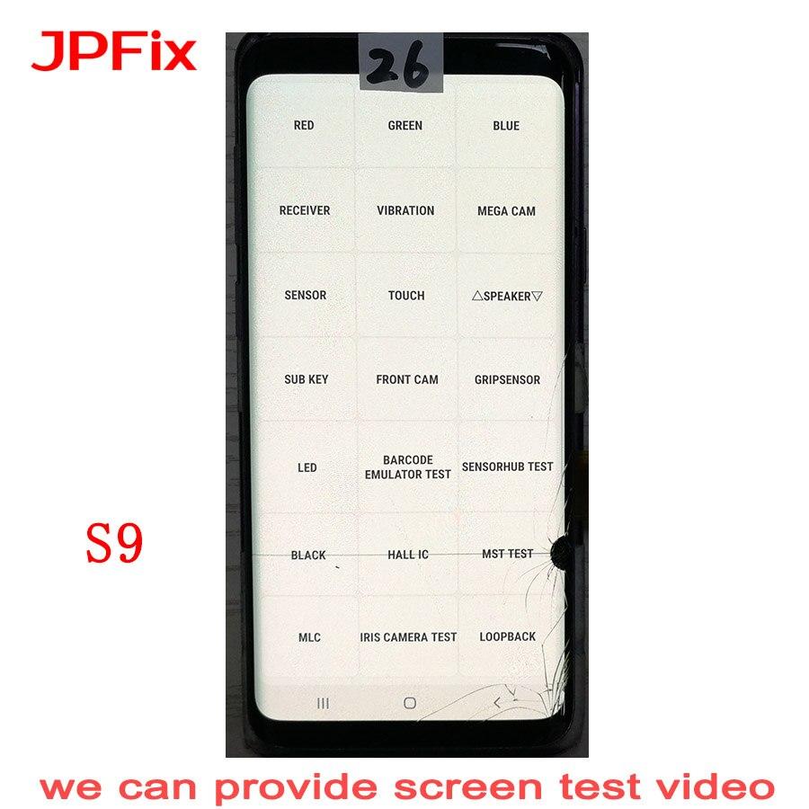 Jpfix para samsung s9 g960fd lcd montagem da tela de toque mancha display digitador vidro rachado com quadro