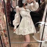 white summer dress 2020 long sleeve women v neck stitching lace hollow slim fashion seaside resort party dress vestido new