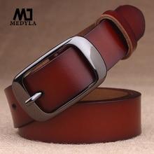 MEDYLA Women's Belt Genuine Leather Fashion Retro Belts High Quality Luxury Brand Ladies Alloy Buckl