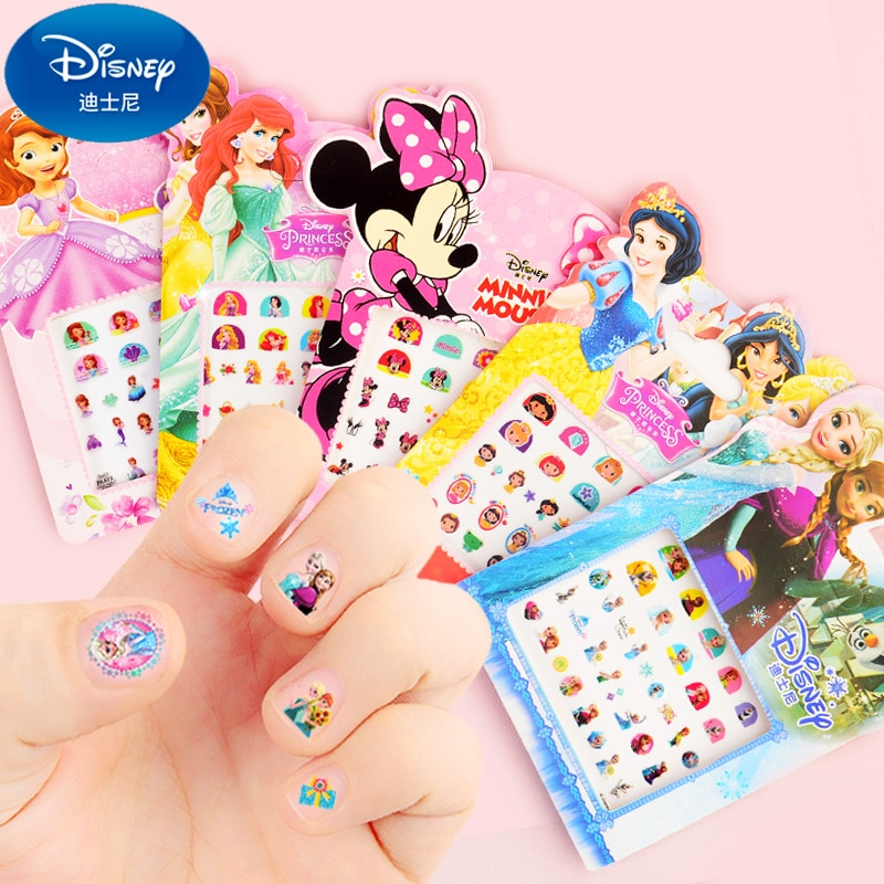 5 unids/set Disney Frozen 2 Elsa Anna maquillaje juguete uñas pegatinas Sofía Blancanieves princesa Minnie Pony chicas pegatinas pequeñas regalo juguete