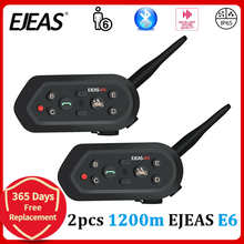 EJEAS E6 1200M Bluetooth Intercom Motorcycle Helmet Interphone Headset IP65 Waterproof Wireless VOX Motorbike Aux Port Earphone