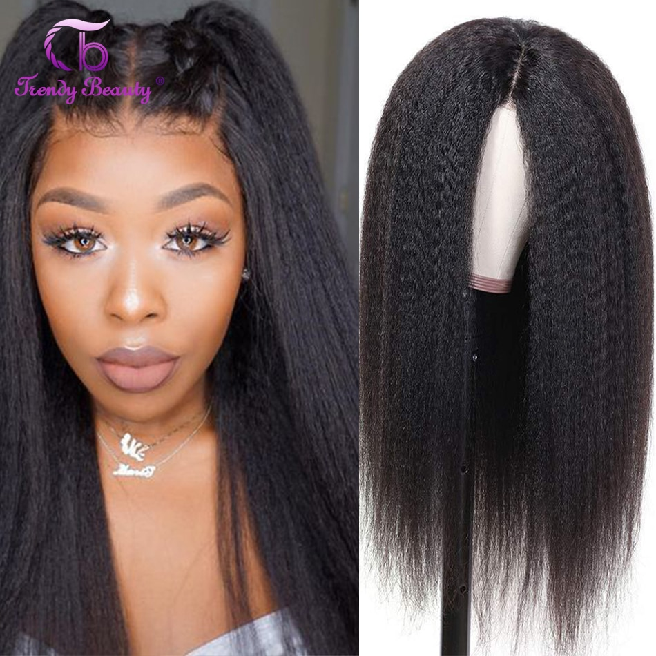 HD Lace Frontal Wigs Kinky Straight Hair 4x4 Lace Closure Wig 180 For Black Women 13x6 Lace Front Wigs HD Transparent Lace Wigs