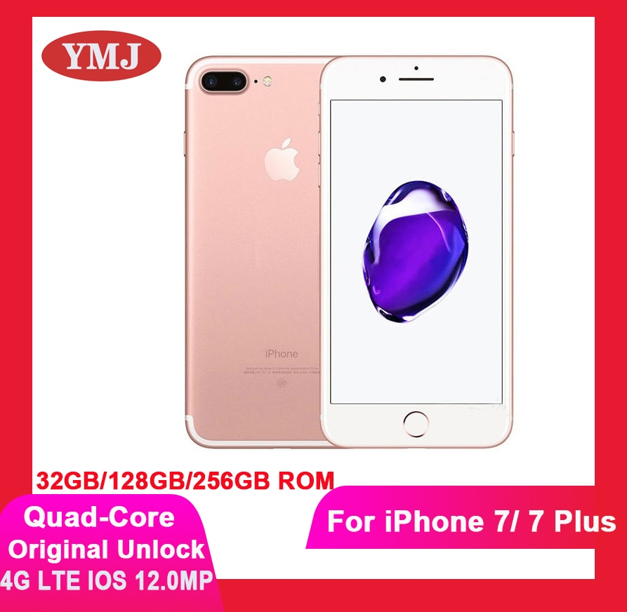 Used Unlocked Tests Well Apple iPhone 7 7 plus Mobile Phone 4G LTE Fingerprint Phone 32GB/128GB/256GB Cell Phone 12.0MP Camera
