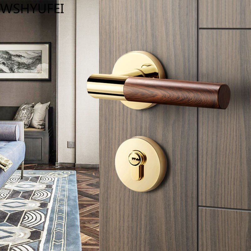 WSHYUFEI-قفل باب فاخر مصنوع من سبائك الزنك ، قفل صامت ، تصميم حديث ، قفل خشبي ، مضاد للسرقة ، معدات أثاث