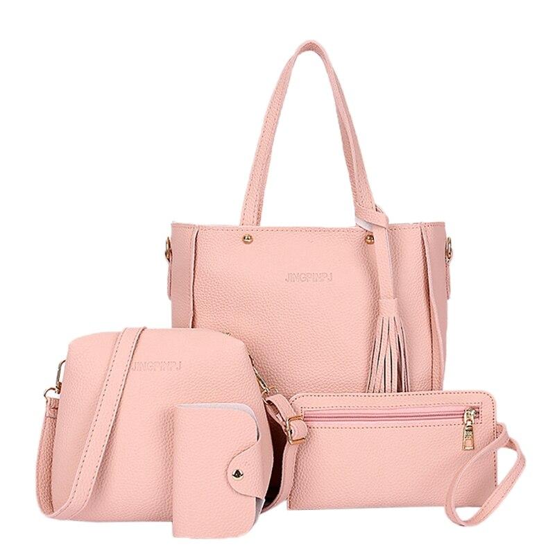 4pcs Women Lady Fashion Handbag Shoulder Bags Tote Purse Messenger Satchel Set