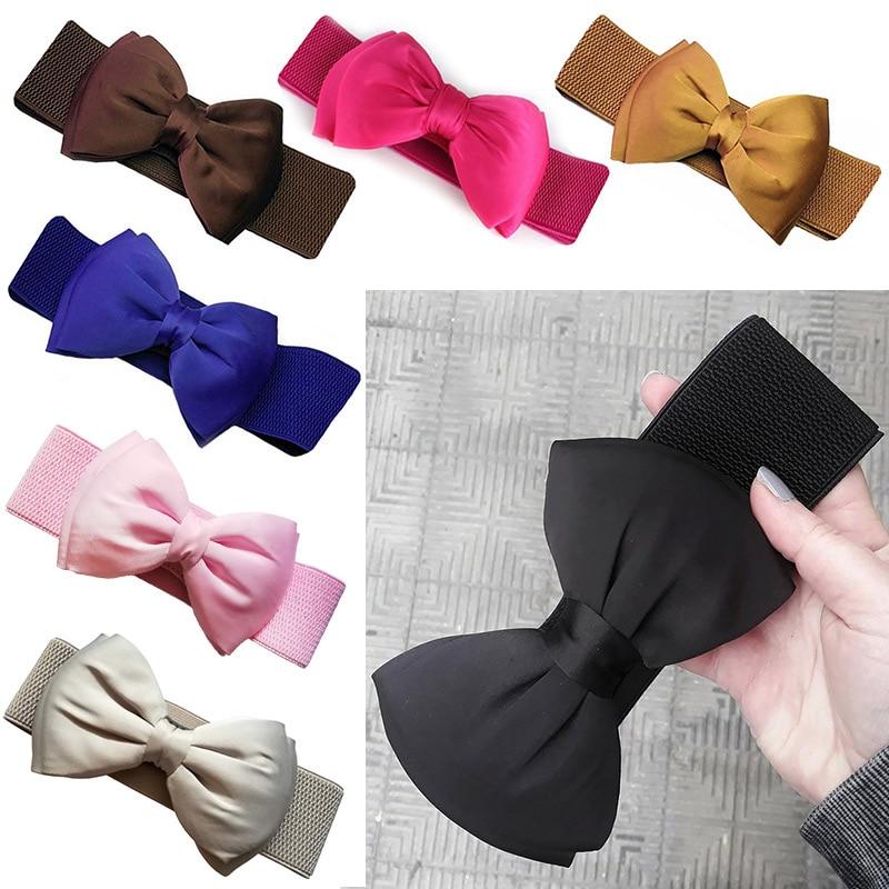 Women Waist Belt Elegant Sweet Big Bow Waistband Elastic Wide Dress Stretch New Designer Belts for Girls Clothes Accessories